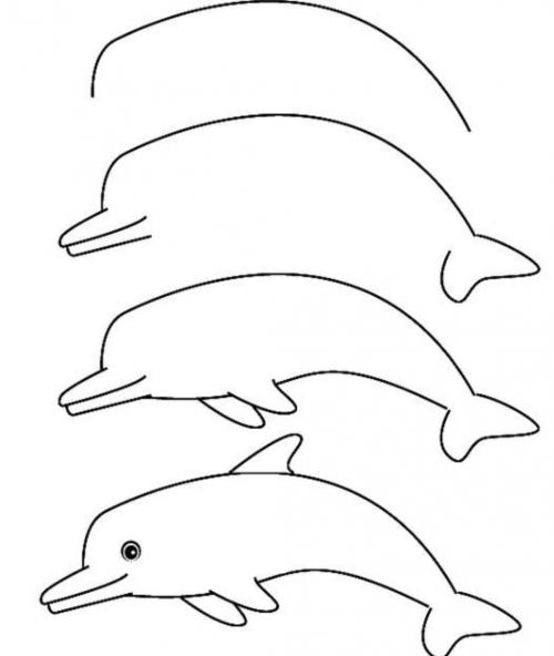Vrolijke dolfijn tekenen