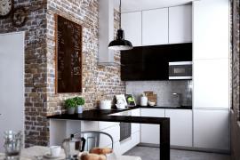 Keuken Kleine Ruimte : Ruimtebesparende oplossing voor kleine keuken idee u stockfoto