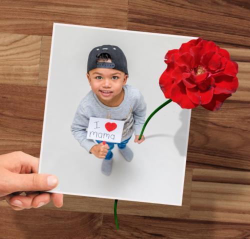 Fotokaart met bloem