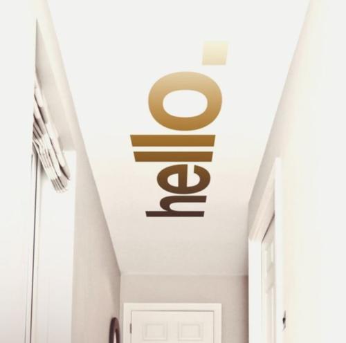 hal plafond met tekst