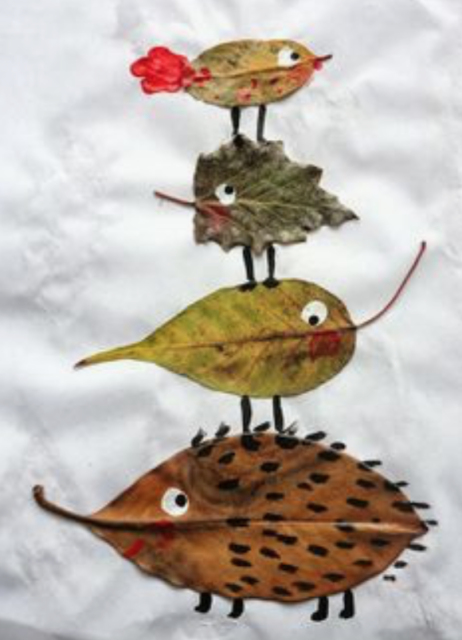 herfst knutselen diertjes bladeren