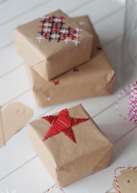 Cadeautjes inpakken_borduren op inpakpapier