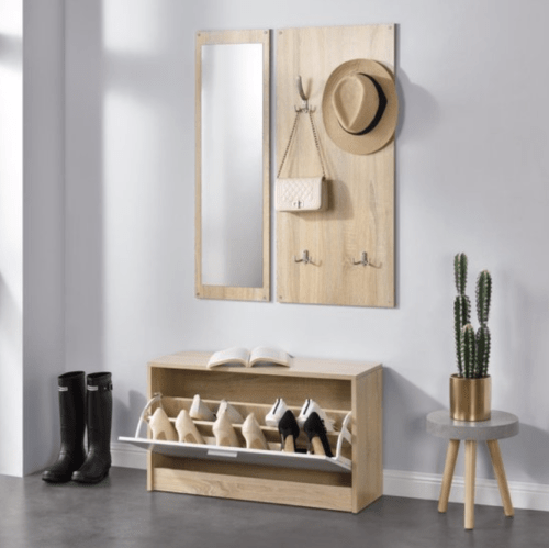 Schoenenkast met spiegel en jashaken