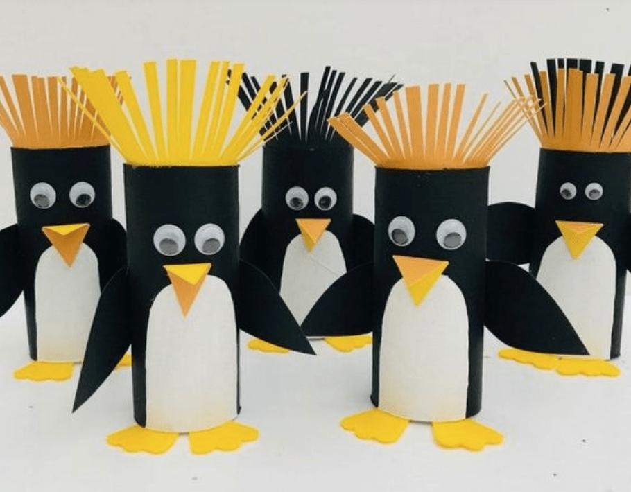 Knutselen met wc rollen_pinguin