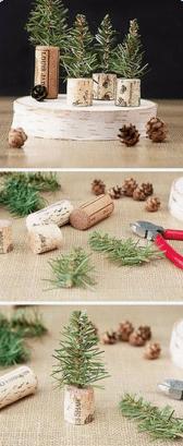 kerstboom knutselen met wijnkurk en dennentakjes