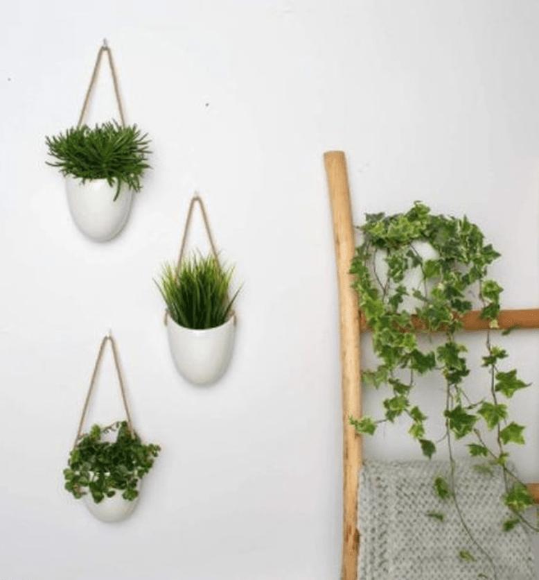 Plantenpot keramiek wit 3 stuks