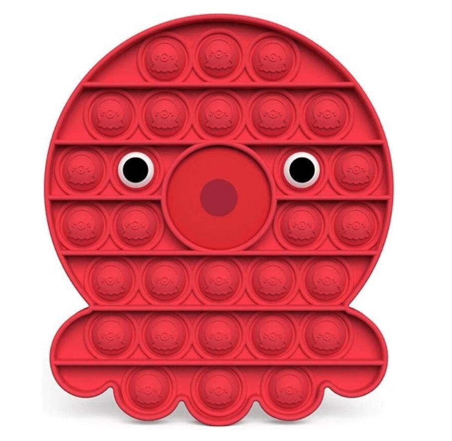 Pop it fidget toy octopus rood